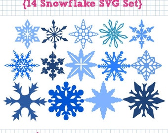 14 Snowflake SVG DXF Set