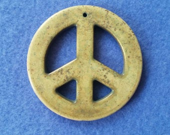 Large Carved Peace Sign Pendant Focal Bead, olive green dyed howlite magnesite gemstone, top drilled stone pendant, 56mm