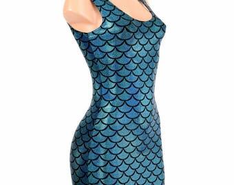 Turquoise Mermaid Scale Bodycon Clubwear Dress with Tank Style Neckline   -E7897