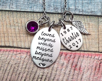 Memory Necklace, Sympathy Jewelry, Loved beyond words, Missed beyond measure, remembrance Necklace, Funeral Gift, Memorial Jewelry