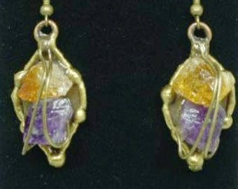 An Antique Brass Leaf Earrings With Citrine And Amethyst