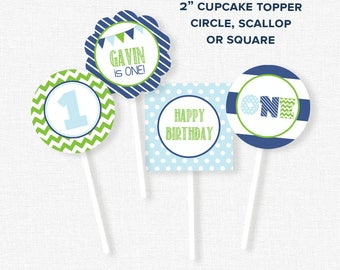 First Birthday Party Decorations, ONE Cupcake Toppers, Blue and Green Party Circles, Printable Birthday Cupcake Toppers