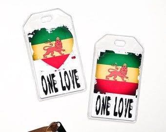 Rasta One Love, Rastafari, Rastafian Luggage Tag, Lion Of Judah, Reggae Music