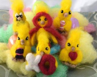 Easter Chicks Needle Felted