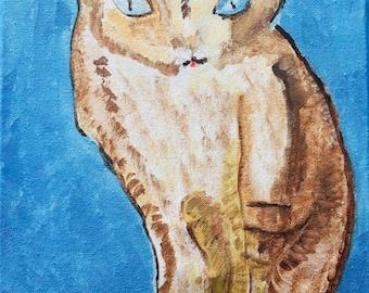 "original acrylic cat painting,14x 11"",stretch cotton canvas wise cat, original art work"