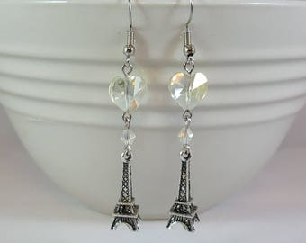 Sparkling Eiffel Tower Dangle Earrings, Faceted Crystal Heart, Pewter Charm, Paris