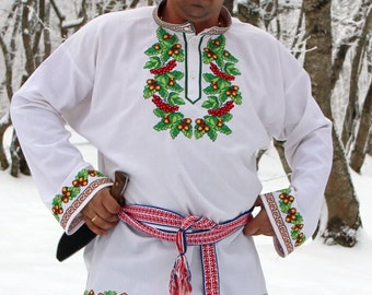 Russian shirt Oberezhnaya; Slavic shirt; folk shirt; mens holiday shirt; Embroidery shirt; Slavic tunic