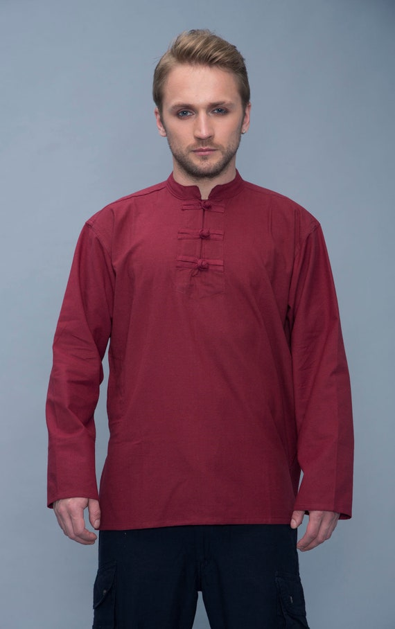 Fabindia men's midi brown Indian cotton kurta size 40 Fitted