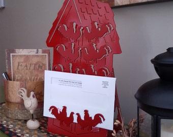 Mail Organizer,Letter Organizer,Desk Organizer,Office Organizer,Metal Plasma Cut,Rooster and Hen,Farm Theme,Farm Decor,Farm Life