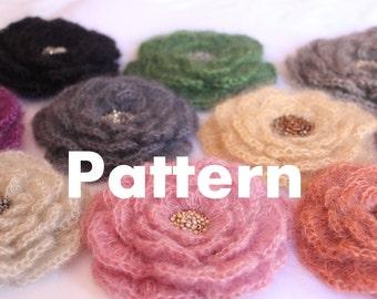 CROCHET PATTERN - Mohair flower brooch - Listing20