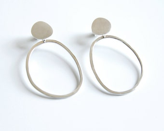 Sterling Silver Pebble & Abstract Hoop Earrings, Gift for her, Statement Earrings, Organic Shaped Earrings, Silver Hoops, Ready To Ship