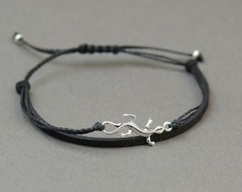 Sterling Silver Gecko Lizard charm bracelet. Mens bracelet