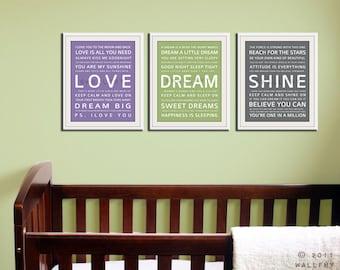 Children art print. Baby nursery art print. Typography art for kids. Nursery wall quotes. SET OF ANY 3 Cliche prints, Love, Dream, Shine