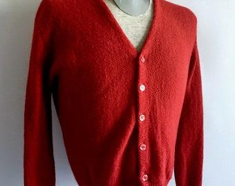 Vintage Men's 80's Burgundy, Alpaca, Cardigan Sweater, Long Sleeve (L)