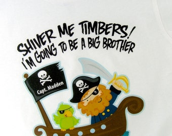 I'm Going To Be A Big Brother Pirate Shirt Personalized Pirate Shirt or Onesie with Your Child's Name (08272011b)