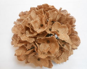 Burlap Hydrangeas / Burlap Flowers / Artificial Flowers / Rustic Burlap Flowers / Flower Supply / Crafting Flowers / Rustic Wedding Decor