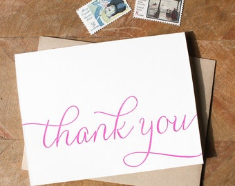 Letterpress Thank you card set, folded thank you cards in calligraphy fuchsia, bright pink