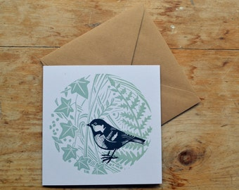 Square Greetings Card // Coal Tit, Ivy and Fern