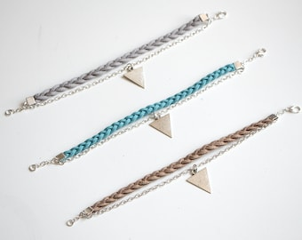 Braided Leather and Triangle Bracelet