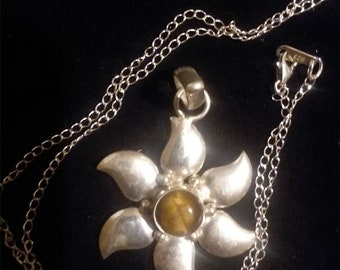 Cats eye flower pendant sterling silver chain