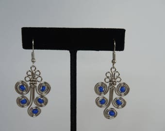 Blue wire earrings/ Metal earrings