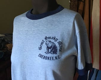 1970s Great Smoky Mountains Ringer Tee - Vintage Baby Blue Ringer Tee Shirt - Women's XSmall - Vintage Cherokee North Carolina Ringer Tee