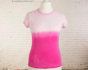 Womens pink, pastel goth tshirt, ribbed cotton tee ombre tie dye dip dyed, pink gradient top, pastel grunge, clothing gift for her size L