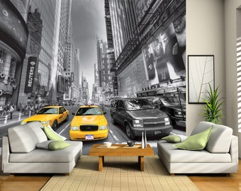 Black and White Times Square Yellow Taxi Cab Wallpaper Photo Mural for Accent Wall Non-Woven FTN 2474