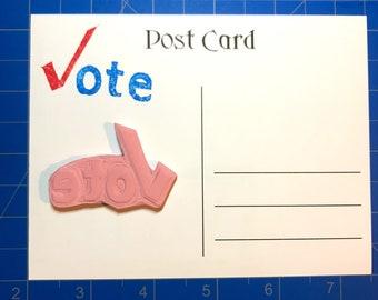 VOTE stamp, hand carved stamp, rubber stamp, unmounted stamp, craftivism
