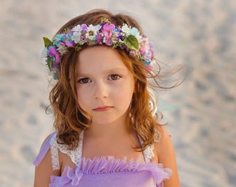 Flower Crown Semi Full Halo - Teal Purple and White Flowers - Greenery - m2m Well Dressed Wolf Orchid Set - Dollcake - Flower Girls
