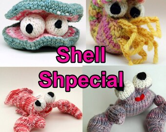 Shell Special Amigurumi Pattern Pack with Clam, Crab, Lobster, and Nautilus Digital Download