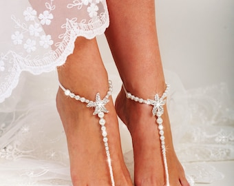 Starfish Beaded Barefoot Sandals, Anklet, Beach wedding Barefoot Sandal, Pearl Barefoot shoes, Bridal Barefoot Sandals, footless sandals