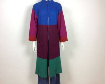 Vtg 70s 80s colorblock striped long sweater cardigan small Cassidy