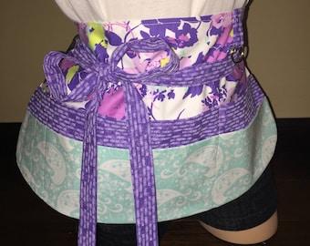 Purple Multi Color Half Waist Pocket Apron