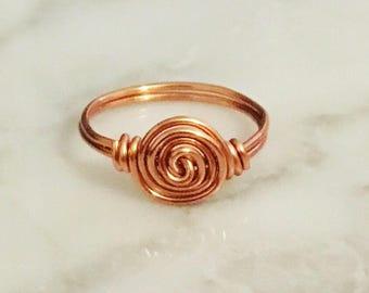 Copper Spiral Ring • Spiral Ring • Copper Ring • Boho Ring • Swirl Ring • Bronze Ring