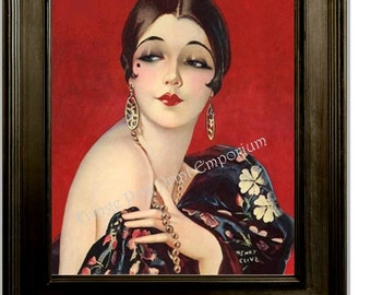 Art Deco Flapper Art Print 8 x 10 - Roaring 20s - Jazz Age - Classy Pin Up with Bob Luxurious