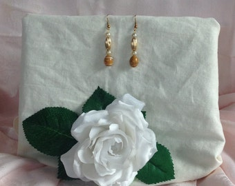 """Handmade, Recycled, Glass, Gold Tone Bead, Faux Pearl, Classic, Day, Evening, Weekend, All Season, One of a Kind 2"""" Earrings"""