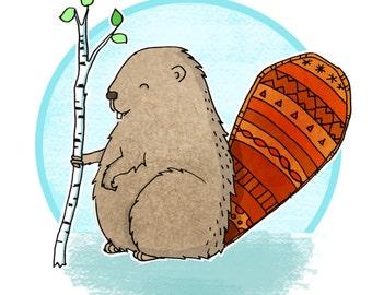 Cute beaver digital print, Beaver digital art, Beaver nursery art, Woodland nursery art, Printable beaver art, Cute printable art, Beaver