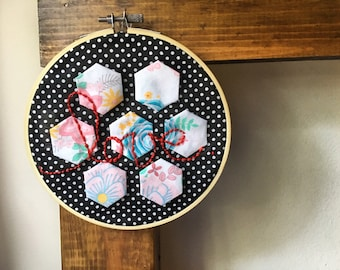 """Home decor/ 6"""" embroidery hoop art/ wall hanging/ hexagon quilt/ wall decor/ floral/ persoabalized/ nursery decor"""