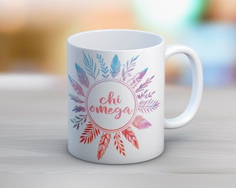 ChiO Chi Omega Feathers Mug Sorority Coffee Mug