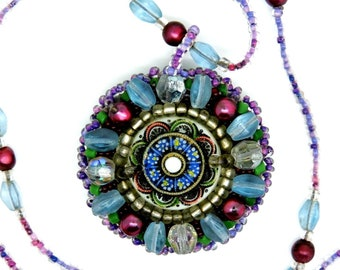 Vintage Czech Necklace Molded Pressed Glass Pendant Micro Beads Handmade Necklace