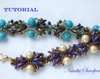 Beading Tutorial, Purple Bracelet, Jewelry Tutorial, Bead Pattern PDF, Instant Download.