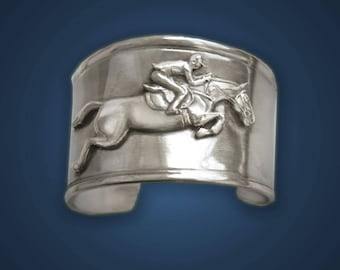 Horse bracelet, Jumper Horse cuff bracelet