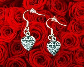 Mothers Day Earrings. Mothers Day Gift Earrings. Silver Heart Earrings. Small Heart Charm Earrings. Cute Heart Earrings Dangle. Gift For Mom