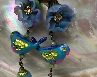 Lilygrace Blue, Green and Lilac Bird Earrings with Flowers and Glass Beads