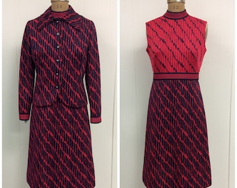 1960s Mod Dress Jacket 60s Leslie Fay Knits
