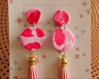 Pink Ripple Tassel Dangle Earrings
