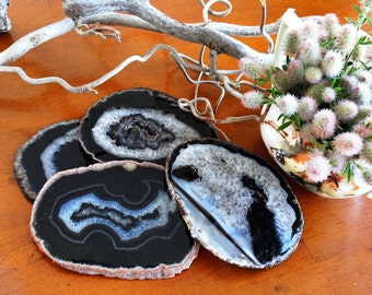 BLACK Agate Coasters Set of 4  -Black Gray Dark Brown~Natural, Gold or Silver Edge - Agate Coaster Set of 2 up to 10. Geode Coasters Coaster