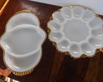 Lot of 2 Anchor Hocking Fire King Milk Glass Gold Gilt Serving Dishes Eggs Relish