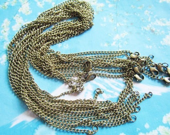 verys trong 12pcs nickel free antiqued bronze 24 inch cable necklace chain with 12mm lobster clasps